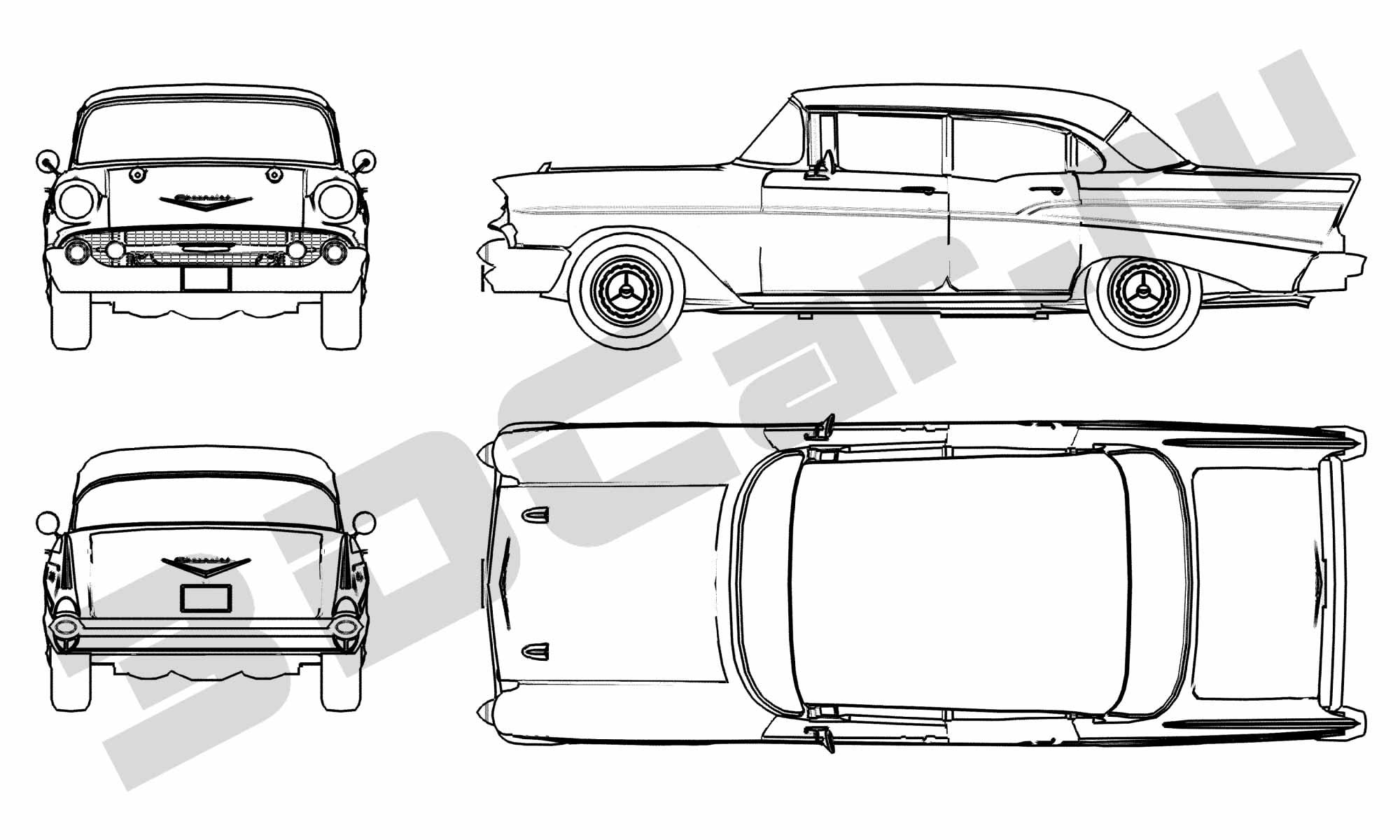 Скачать чертеж chevrolet belair sedan 1957 2000x1200