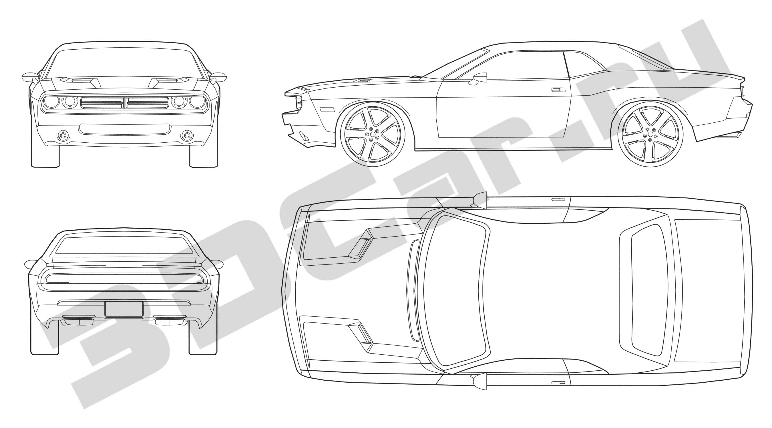 dodge challenger blueprints  dodge challenger 2008