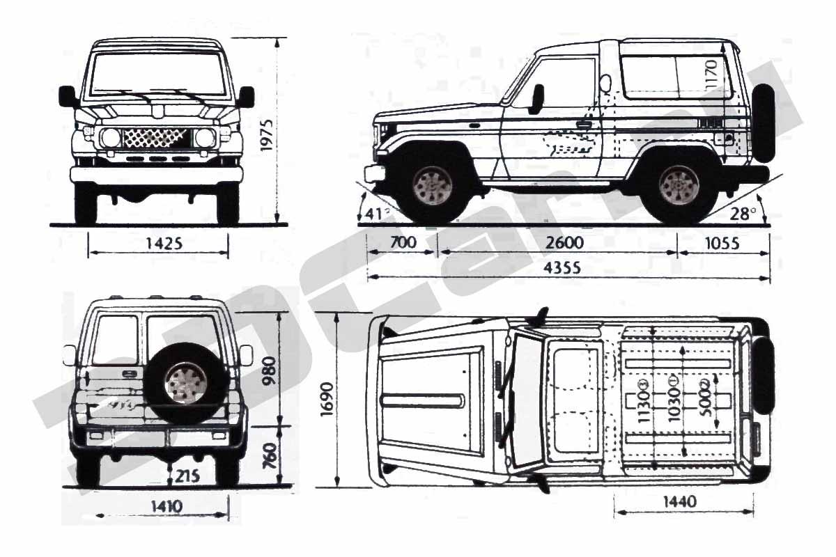 Чертеж Toyota Land Cruiser 70 3doors 2001 3dcar Ru